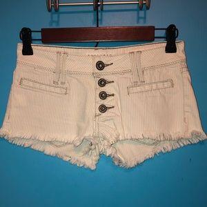 Bullhead White Wash Striped Frayed Short Shorts